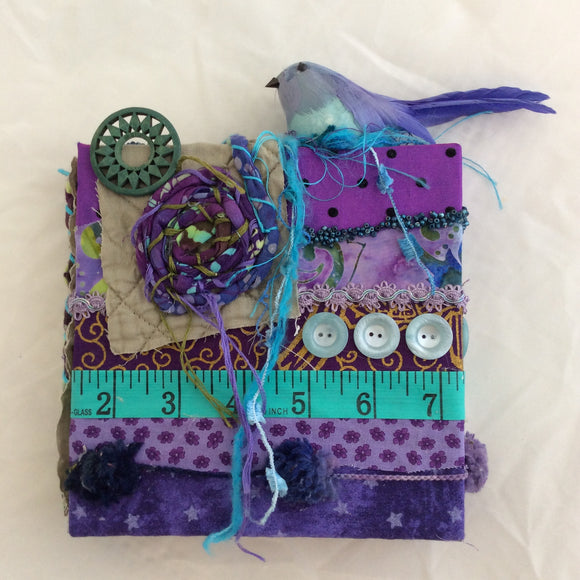 Purple Bird Fabric Collage