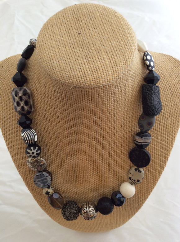 Single Necklace - Black and Silver Artsy Beads