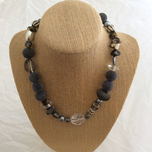 Single Necklace - Multiple Grey Fuzzy Balls and Silver Beads