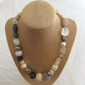 Single Necklace - White and Neutral Artsy Beads
