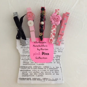 Pink Diva Clothespin Noteholders