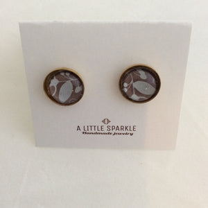 White Leaves on Mauve - Brass Post Earrings
