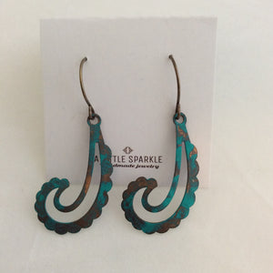 Turquoise Metal Paisley Drop Vintage Texture Earrings