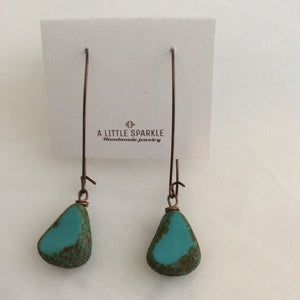 Rustic Turquoise Stone on Long Wire Fine Vintage Earrings