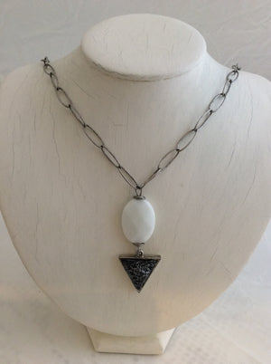Oval White Stone w/Triangle Pendant on Silver Chain Necklace