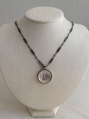 Round Glass, White and Silver Pendant on Silver Chain Necklace