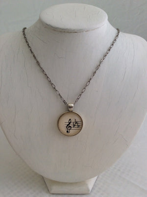 Round Glass Musical Note Pendant on Silver Chain Necklace