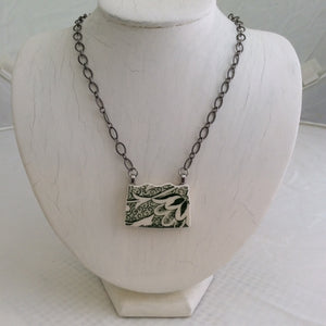 Green/White China Pendant on Silver Chain Necklace