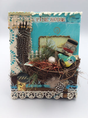 Bird in Nest - Fabric Collage