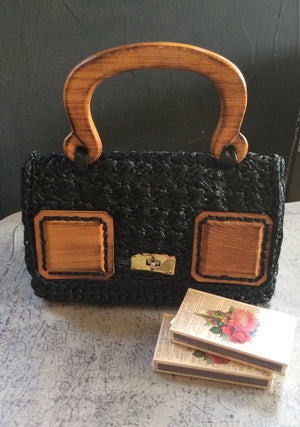 Black Woven Vintage Purse with Wood Handle