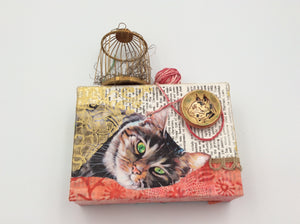 Cat Collage with Birdcage & Yarn