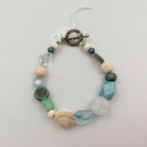 Beaded Bracelet - Artsy Beads Beachy Seashell and Aqua with Flower
