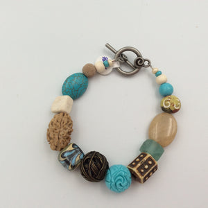 Beaded Bracelet - Artsy Beads Turquoise, Tan, and Copper Wire Bead