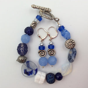Bracelet and Earrings Set - Blue, White & Silver Artsy Beads