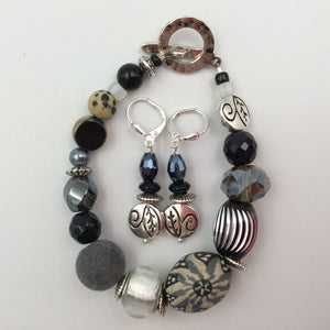 Bracelet & Earring Set - Grey Felt, Silver and Handmade Beads