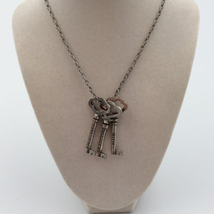 MSG Three Keys Necklace with Pewter Keys Made in USA