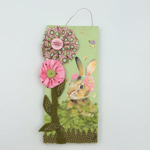Wooden Plaque with Bunny & Flowers