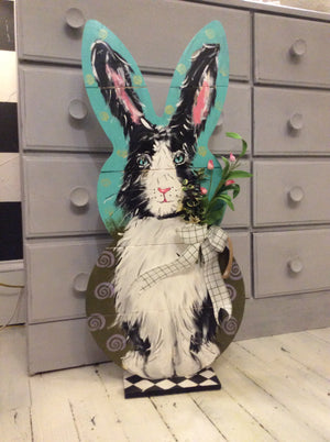 Large Painted Wooden Rabbit