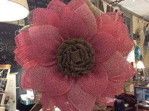 Poly Burlap Wreath - Pink and Natural