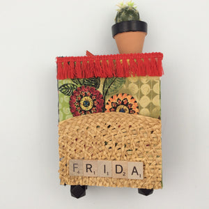 """Frida"" Wall Spirit Box with Cactus Pot and Scrabble Letters"