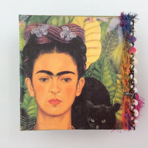 """Frida"" Square Spirit Box with Fuscia Tassel"