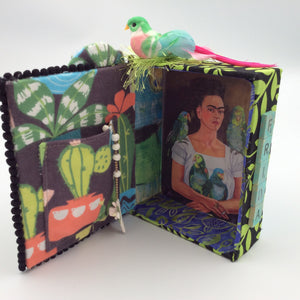 """Frida"" Wall Spirit Box with Bird and Turquoise Scrabble Letters"