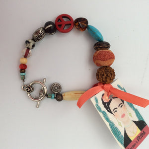 """Frida"" Bracelet with Red Peace Sign Bead"