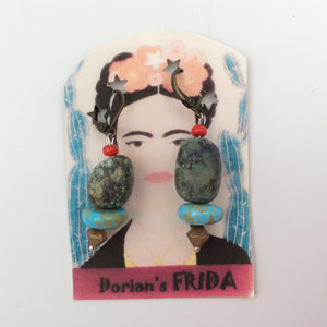 """Frida"" Earrings with Turquoise Beads"