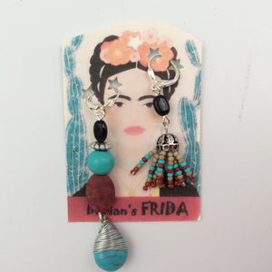 """Frida"" Earrings - Turquoise Asymmetrical Design"