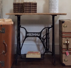 Singer Sewing Machine Table with Solid Barn Wood Top