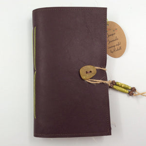 Brown Leather Journal with Button Closure