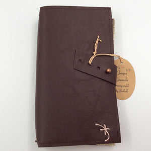 Brown Leather Journal with Tab Closure