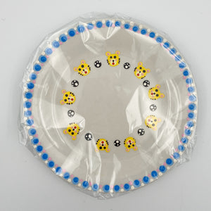 Baby Plate - Hand Painted Yellow Tiger with Blue Rim