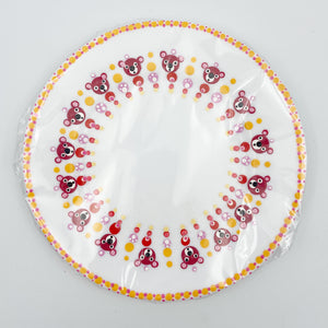 Baby Plate - Hand Painted Burgundy Bear with Yellow Rim