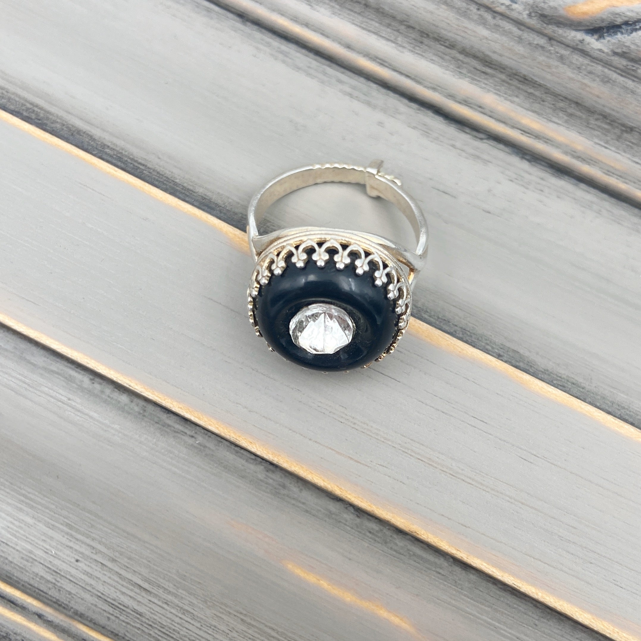 Silver With Black and Stone Button Ring