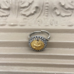 Silver with Gold Anchor Button Ring