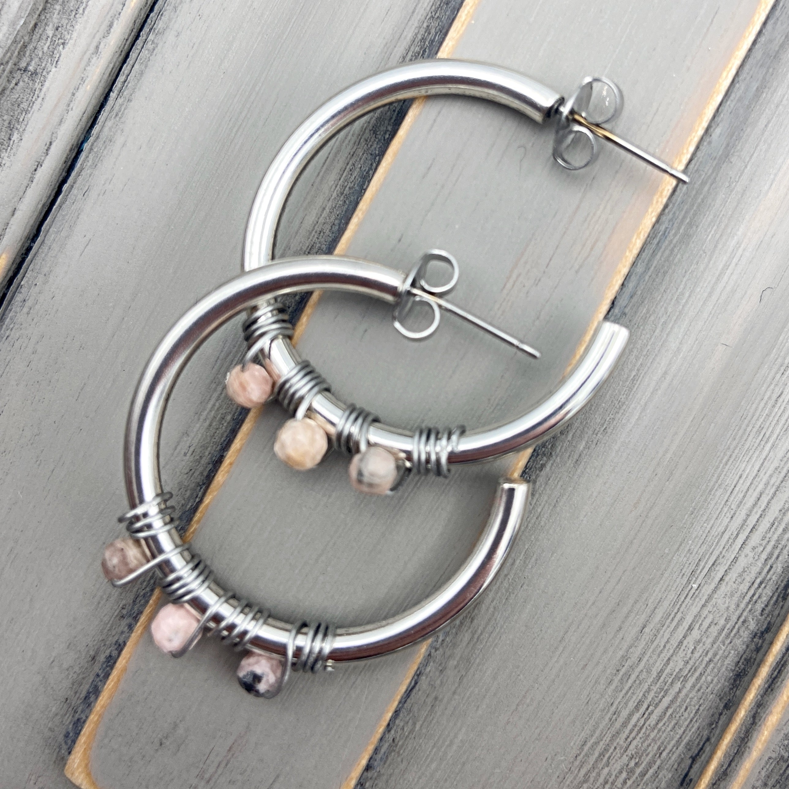 Silver Hoop Earrings with Rhodochrosite Stones