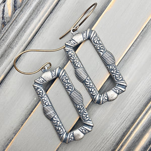 Silver Engraved Rectangular Earrings with Antique Silver Look and Natural Brass Ear Wires