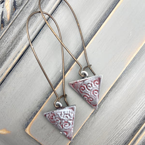 Long Brass Ear Wire with Silver Clay Triangle Earrings