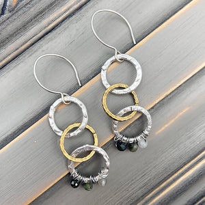 Triple Circle Silver & Gold Earrings with Fancy Red Tourmaline at Bottom and Sterling Silver Wires