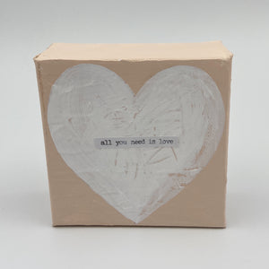 Pink with White Heart Wooden Sign - All You Need Is Love