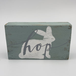 Blue Wood Sign - Hop