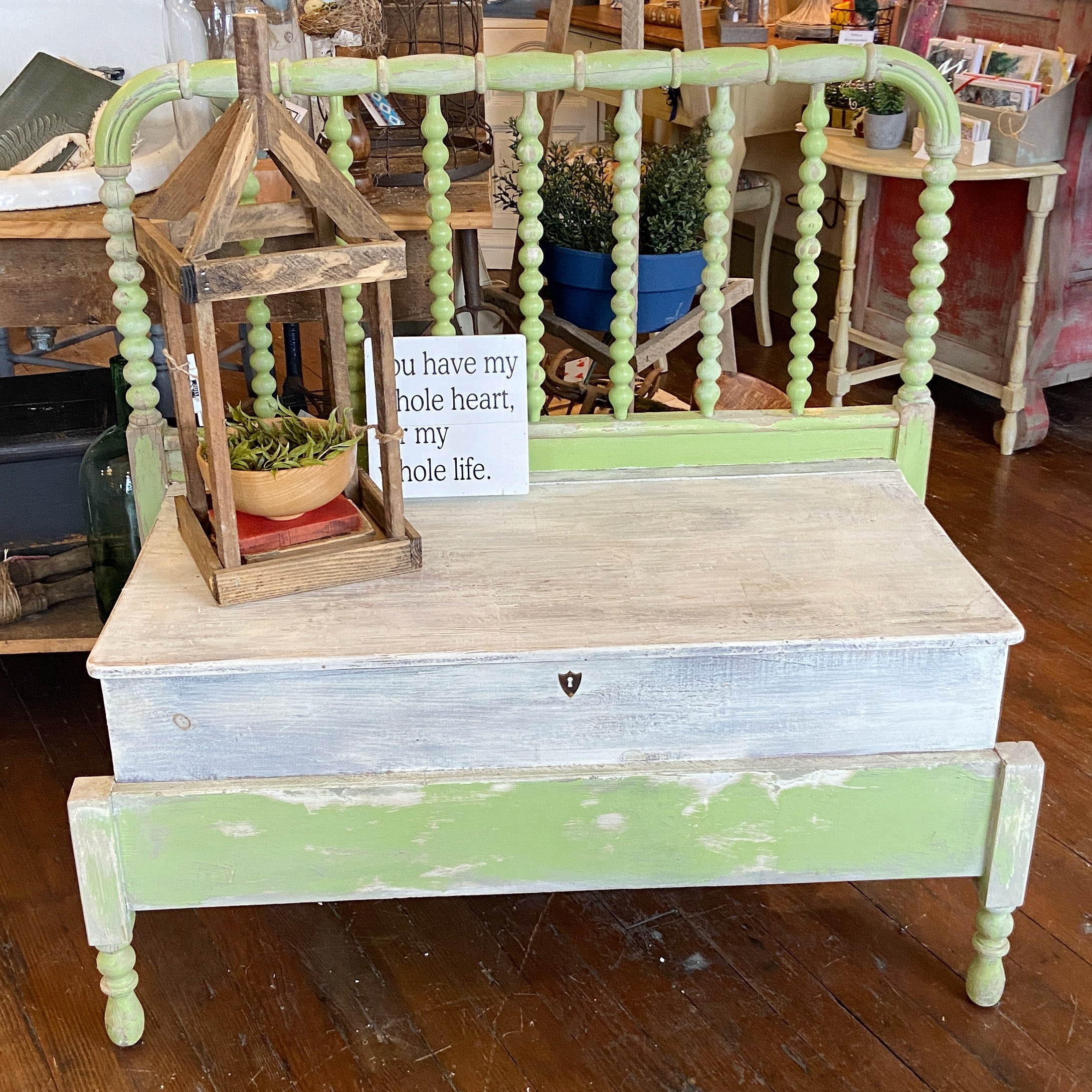 Green and White Bench Made from Crib