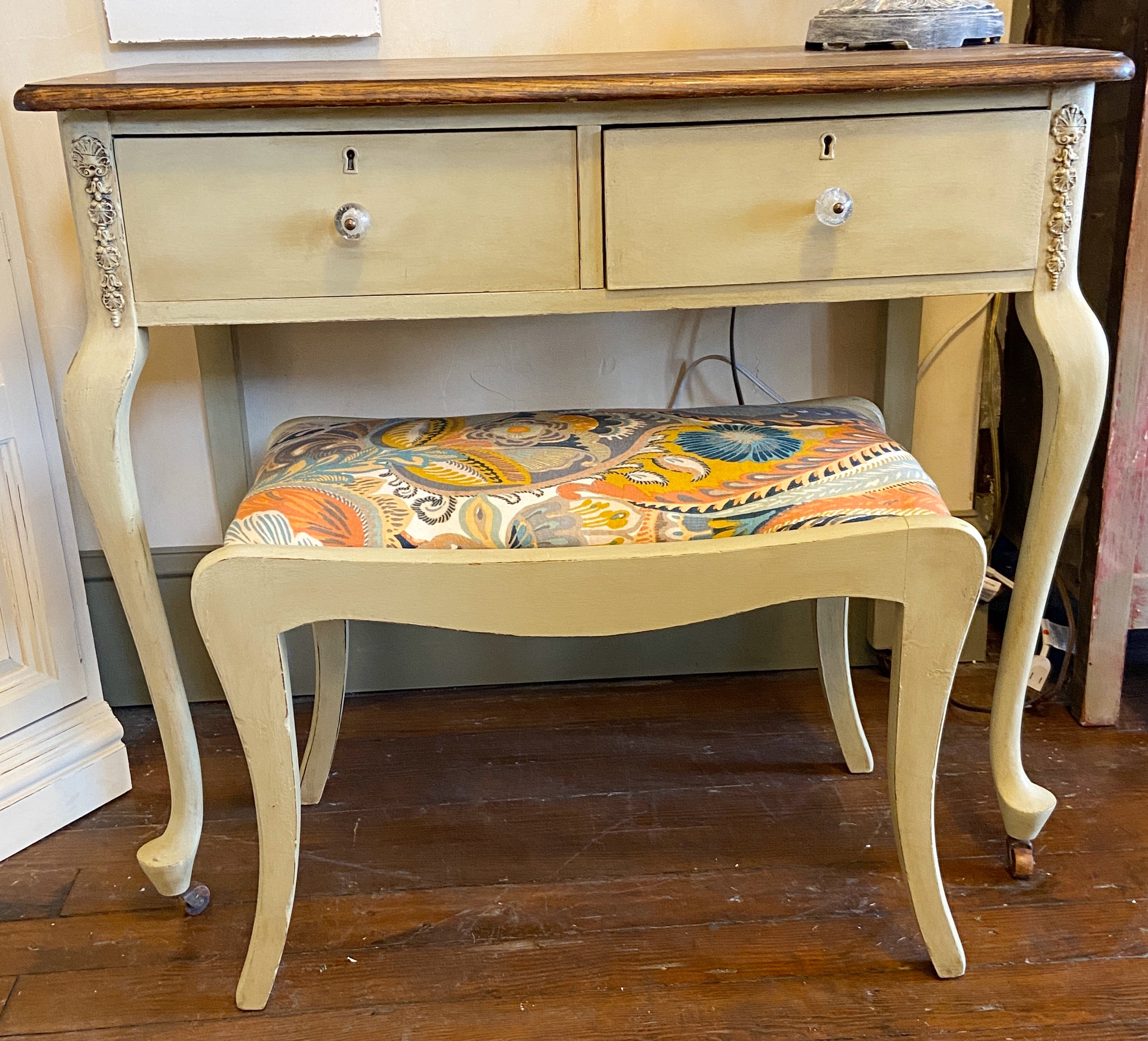 Vintage 2 Drawer Table with Stool