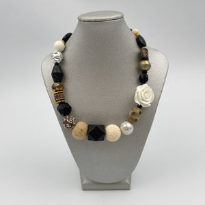 Single Necklace - Neutral Colored Beads with White Rose