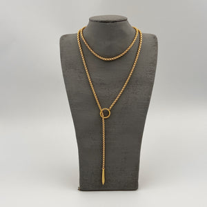 Gold Snake Lariat Necklace with Gold Point