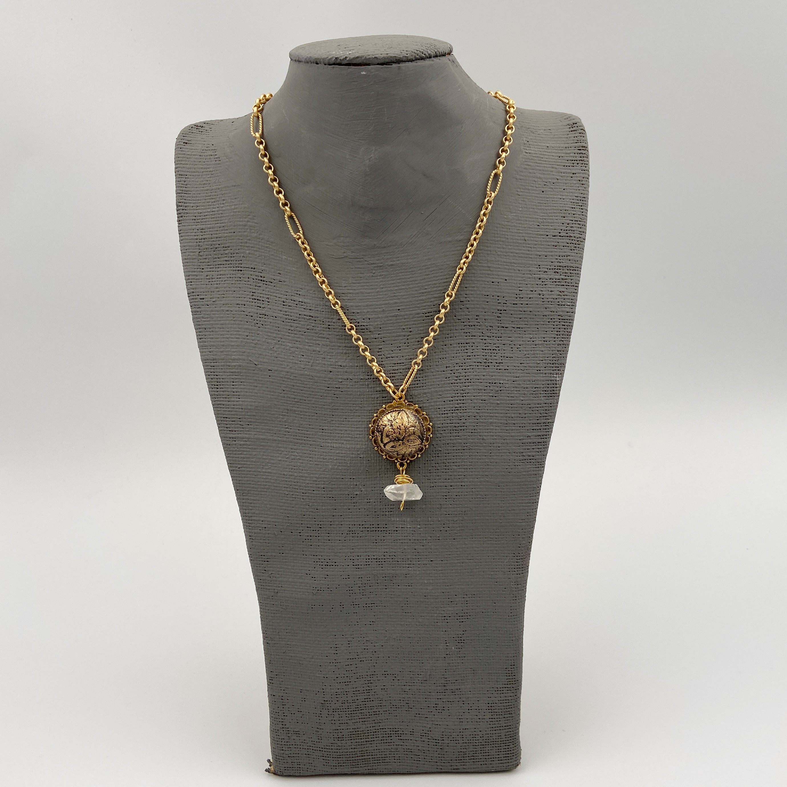 Gold Necklace with Clay and Quartz