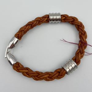 Single Braided Leather Bracelet with Stainless Steel Clasp