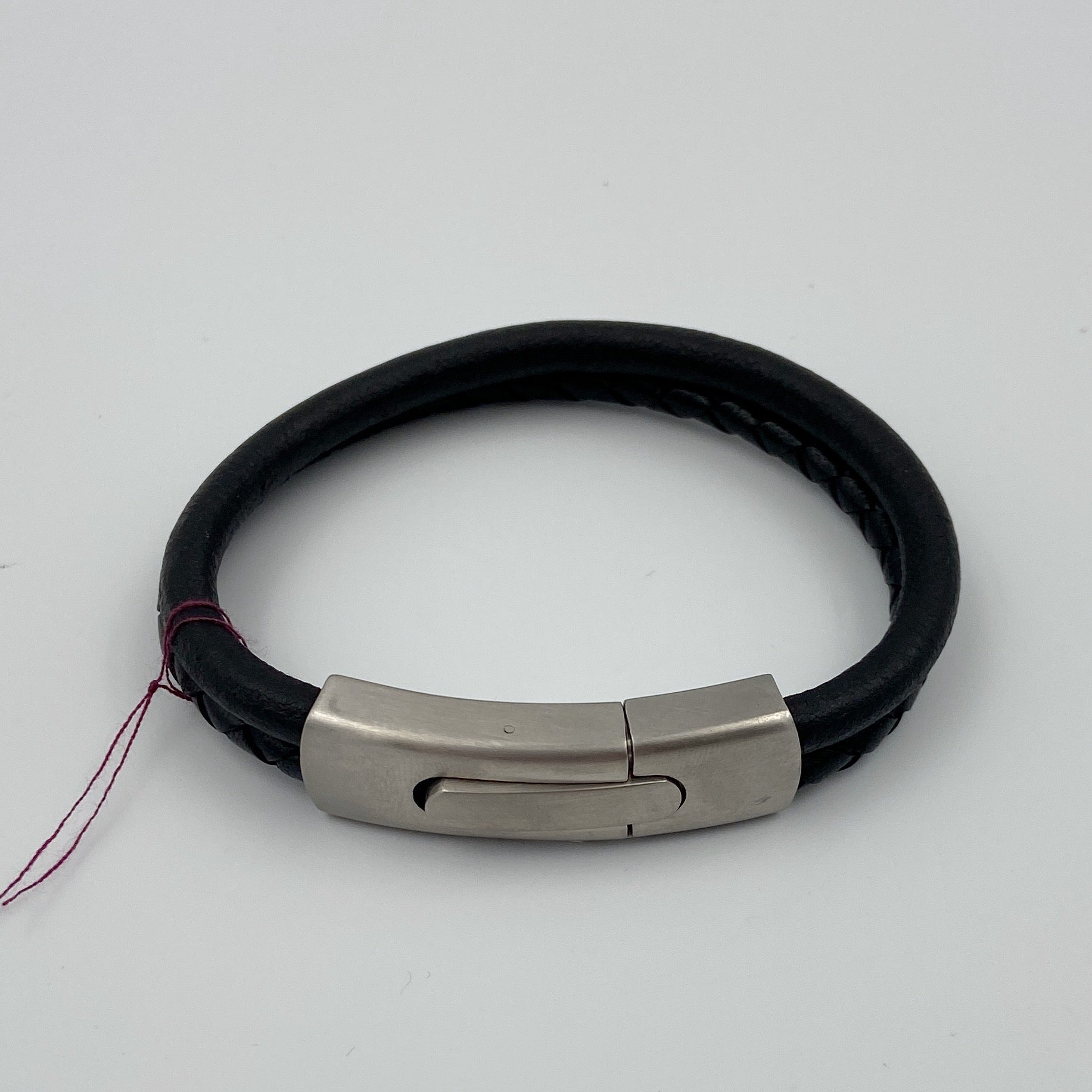 Multi Loop Leather Bracelet with Stainless Steel Clasp