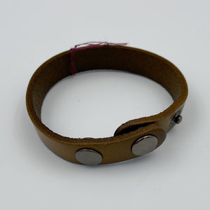 Plain Flat Leather Bracelet with Snaps